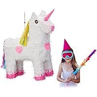 Relaxdays Pinata Einhorn, zum Aufhängen, Kinder, Mädchen, Geburtstag, zum Befüllen, HxBxT: 47 x 43 x 13 cm, weiß-rosa
