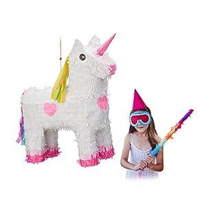 Relaxdays Piñata Unicornio, Color Blanco-Rosa,