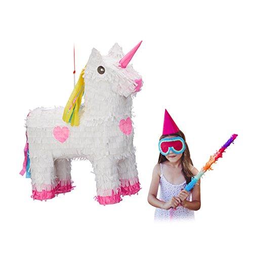 (Relaxdays Pinata Einhorn, zum Aufhängen, Kinder, Mädchen, Geburtstag, zum Befüllen, HxBxT: 47 x 43 x 13 cm, weiß-rosa)