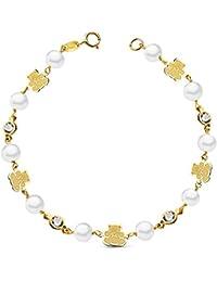 Pulsera niña oro amarillo 18 ktes 1ª Comunión perlas y ositos circonitas 17,5cm