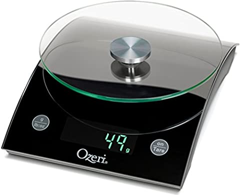 The Epicurean 8 kg (18 lbs) LED Kitchen Scale by Ozeri, with Removable Glass Weighing Platform