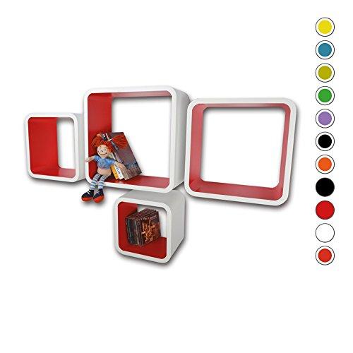 Etagères Design Rétro Mur Bibliothèque Cubes Cube Blanc & Rouge LO02BR