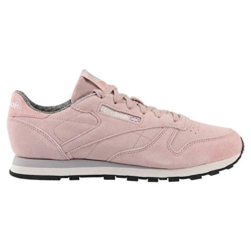 Reebok Damen CL Lthr W&W Fitnessschuhe, Rosa (Shell Pink/Whisper Grey/Lilac/Blk/Rose/I), 40 EU