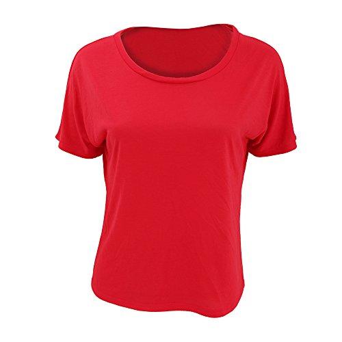Bella + Canvas Damen T-Shirt, Kurzarm, Rundhalsausschnitt, weit geschnitten, Rücken offen Dunkelgrau Meliert