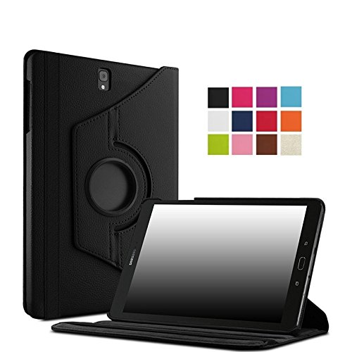 TGK Leather 360 Degree Rotating Case Cover Stand For Samsung Galaxy Tab S3 (9.7 Inch) Sm- T820, T825 (Black)