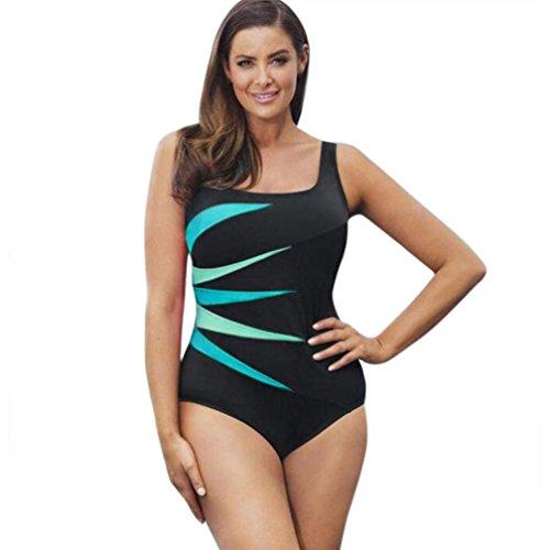 GreatestPAK Heißer Sommer Patchwork Swimwear Push-Up gepolsterte Bade Beachwear Damen One Piece Bademode (XL (EU 38-40), Grün) (One Piece Vol 39)