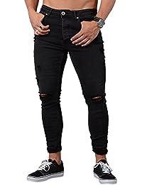117092229ec65 Dihope Homme Pantalon Serré Denim Trou Biker Déchiré Trou Jeans Skinny  Cargo Straight Slim pour Printemps
