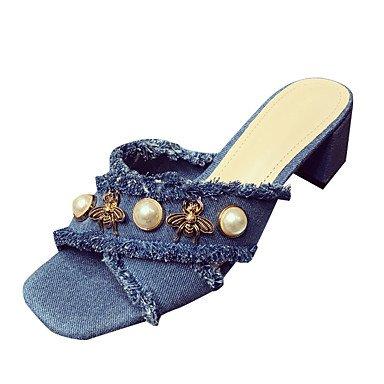 zhENfu Donna Sandali Comfort estivo all'aperto PU camminare tacco piatto imitazione perla luce blu blu Blue