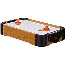 Relaxdays Hockey de table Air Hockey de table Mini Hockey emporter accessoires lxP: 56 x 31 cm, brun