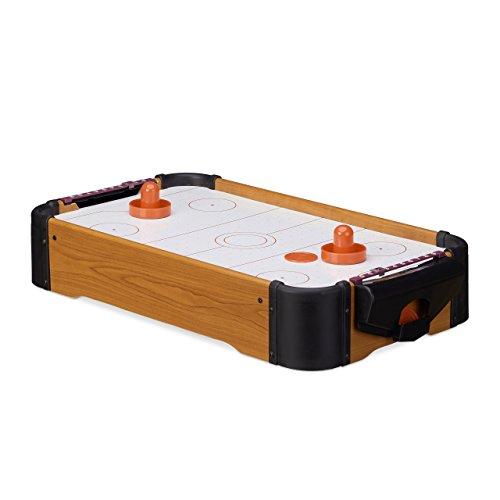 Relaxdays Airhockey Tischspiel, Tischairhockey mit Gebläse, Holz-Optik, inklusive Zubehör, B x T: 56 x 31 cm, braun (Gebläse Motor Weniger)