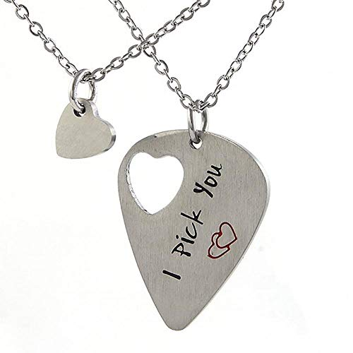 WL Schmuck Set Pfirsich Herz Gitarren Halskette Set Edelstahl Schriftzug I Pick You Couple Pendant Necklace