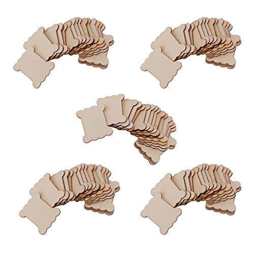 sharprepublic 100x Flache Spulen Aus Holz Blank Thread Ribbon Schnur Reel Wolle Organizer Supply