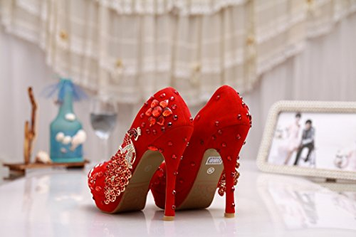Minitoo , Semelle compensée femme Rouge - Suede-Red-12cm Heel