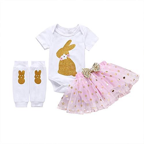 JUTOO Kleinkind Baby Mädchen Ostern Cartoon Kleidung Kaninchen Druck Tops + Dot Printing Tutu Prinzessin Rock Tops + Socken Set (Rosa,80) (Kleidung Rabatt Kinder Boutique)