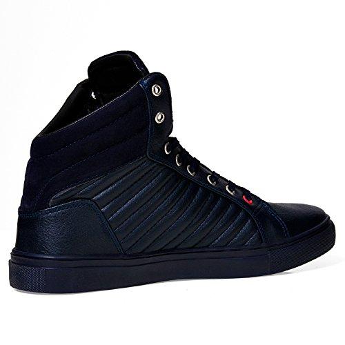 Herren High Top Sneaker 1022 Stripes Schuhe Fashion Schwarz Rot Blau Weiß 40-44 Weiß