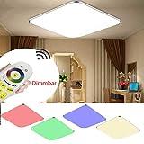 ADEMAY Ultraslim LED 36W RGB Modern Dimmbar Deckenleuchte Flur Wohnzimmer Kinderzimmer Wand-Deckenlampe Schlafzimmer Küche Panel Leuchte Licht (36W RGB)