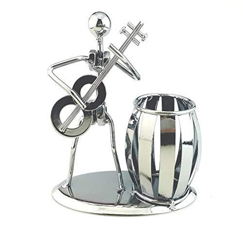 BIGBIGWORLD - Portalápices con diseño de equipo musical, hierro, soporte para bolígrafos, secretario, decoración de escritorio, música, juguete, regalo, color guitarra