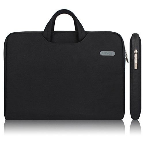 Arvok 15 15.6 Pouces Housse avec Poignée pour Ordinateur Portable Sacoche Pochette PC en Toile de Protection Ordinateur pour Macbook Pro Retina/ASUS/Dell/HP/Lenovo/Tashiba/Sony - Noir