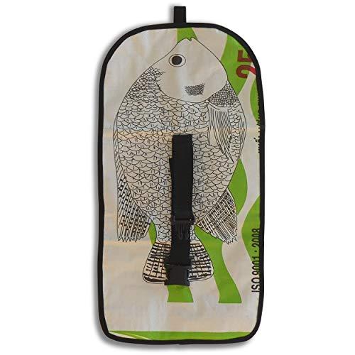 AC Greenshop Upcycling Faltbarer Kulturbeutel aus recyceltem Zement- /Fischfutter-/Reissack, Farbe/Aufdruck:Fisch Weiß-Grün