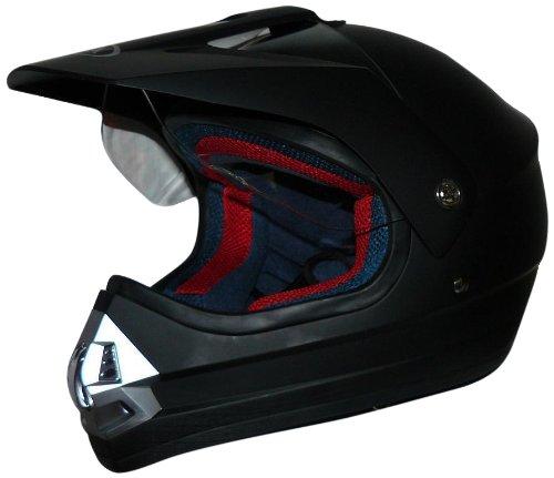MAX RACING Motorradhelm, Motocrosshelm, Endurohelm mit Integrierten Klappbarem Visier, Schwarz Matt, L
