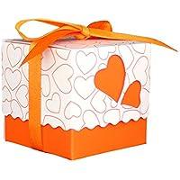 Scatola per confetti, Foxom Love Heart modello di nozze caramelle dolci scatola regalo con nastro Baby Shower party evento decorazione, Orange, 5*5*5cm