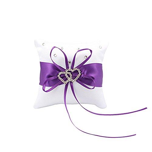 OurWarm Baby 10x 10cm Wunderschöne Schleife klein Diamant Herz geformtes Weddding Bridal Ring Kissen Hochzeit violett