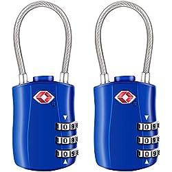 Diyife [2 Pack] Serrures à Bagages TSA, Cadenas de sécurité à 3 Chiffres, Cadenas à Combinaison, Code de Verrouillage pour Les valises de Voyage Valise Sac de Bagages etc. -Bleu