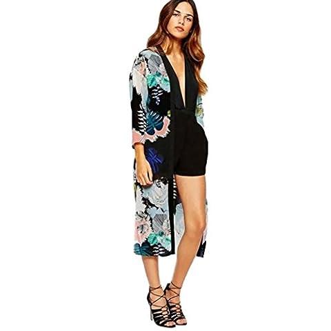 OverDose Women Boho Printed Chiffon Shawl Long Kimono Cardigan Tops