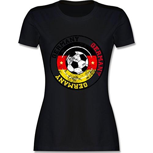 EM 2016 Frankreich Germany Kreis Fußball Vintage tailliertes Premium TShirt  mit Rundhalsausschnitt für Damen Schwarz