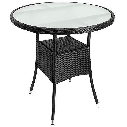Deuba Poly Rattan Beistelltisch Schwarz I Ø 80 x 74cm I Milchglas Tisch I Rund Gartentisch Balkontisch Garten Möbel