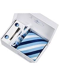 Coffret Cadeau Ensemble Cravate homme, Mouchoir de poche, épingle et boutons de manchette Rayures Bleues et Bleues clairs