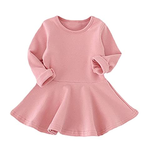 Sunenjoy Bébé Filles Bonbons Couleur Long Manchon Solide Princesse Occasionnel Enfant Enfants Robe (4 ans, rose)