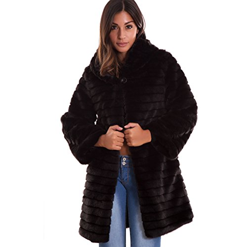Toocool - pelliccia ecologica donna bottone cappuccio cappotto maniche lunghe nuova 16009 [s,nero]