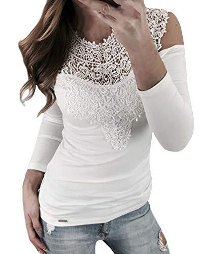 YOINS Maglia Donna Manica Lunga Invernale Camicia Spalle Scoperte in Pizzo Camicetta Casuale Blusa
