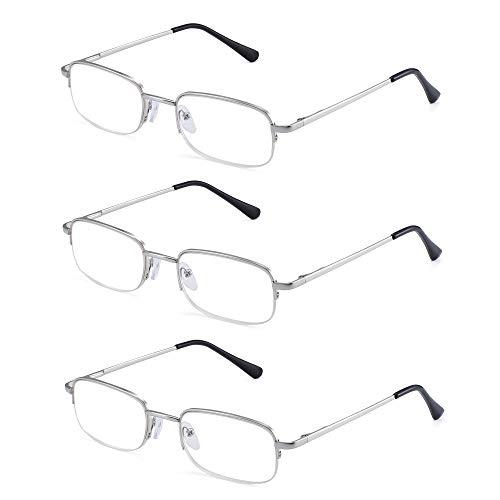 JM Lesebrille Satz von 3 Halber Rand Metall Brille für Lesen Dauerhaft Federscharnier Leser Damen Herren +1.5 Silber