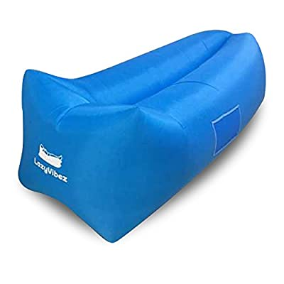 Inflatable Air Lounger By LazyVibez: Portable Air Sofa With Headrest And Pockets – Waterproof Lounge Hammock For The Beach, Festivals, Camping, Backyard - Blow Up Chair For Outdoor Activities - cheap UK light store.