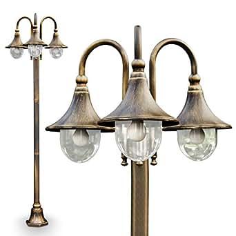kandelaber elgin mit 3 k pfen in gold braun garten au enlampe wegeleuchte mit 3 e27. Black Bedroom Furniture Sets. Home Design Ideas
