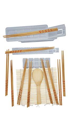 ▶ Komplettes Sushi Maker Set ▶ Auch für Anfänger oder als Geschenk: Kinderleicht leckere Sushi zum Selber machen ▶ Spülmaschinenfeste Sushi-Formen ▶ Bambusmatte zum Rollen ▶ Bambuslöffel