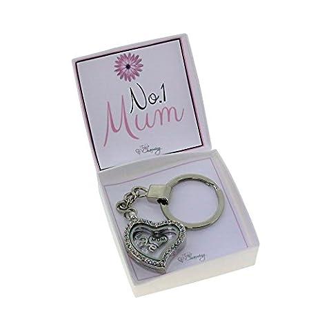 No 1Maman mémoire Médaillon Porte-clés avec cristal Swarovski Charms flottant dans une boîte cadeau