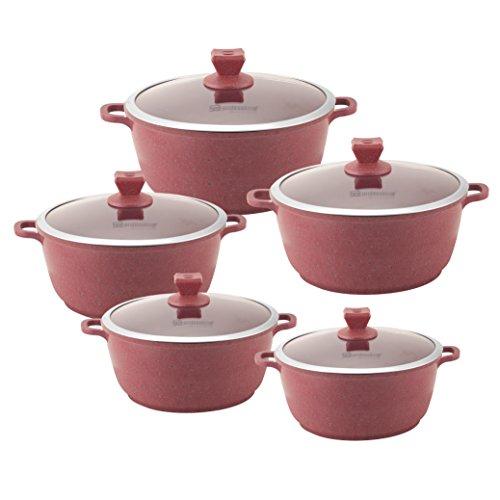 Sq professional nea marmo con rivestimento antiaderente cottura pentola/5pezzi set, 20cm (2l); 24cm (4l); 28cm (6l); 30cm (8l); 32cm (10l), disponibile nei colori:-rosa-red, persimmon-orange. rossa-red