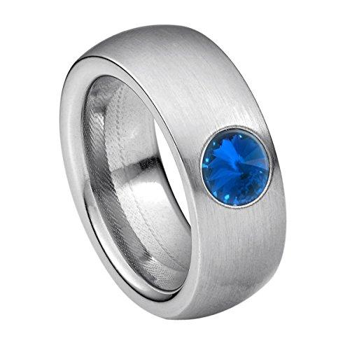 Heideman Ring Damen Coma 8 aus Edelstahl Silber farbend matt Damenring für Frauen mit Swarovski Stein Kristall Sapphire blau im Fantasie Edelsteinschliff 6mm