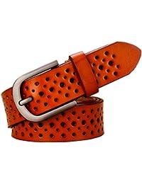 Agujeros de moda Cinturones de cuero genuino para las mujeres Ancho Pin  Hebilla Mujer Cinturón Jeans Correa Mujer de segunda capa de… d646093f488f