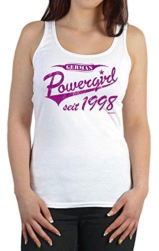Damen Tanktop zum Geburtstag - German Powergirl seit 1998 - Trägershirt, Farbe: weiss Weiß