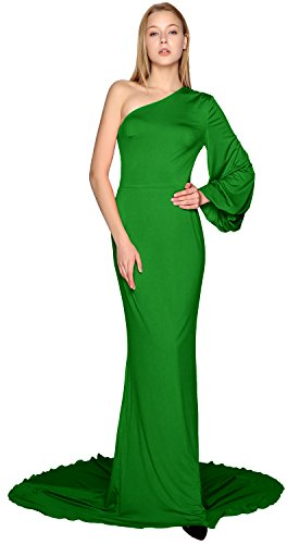 MACloth Women Long Mermaid Wedding Formal Evening Party Ball Gown Prom Dress green