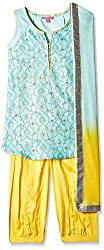 Biba Girls Salwar Suit (KW1887_Turquoise and Yellow_9)