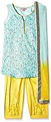 Biba Girls Salwar Suit (KW1887_Turquoise and Yellow_9)