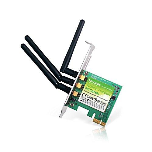 TP-Link TL-WDN4800 N900 WLAN Dual Band PCI-E Adapter (bis zu 450Mbit/s auf 2,4GHz oder 5GHz, 3 Externe Antenne, geeignet für Windows 10/8.x/Vista/7/XP)