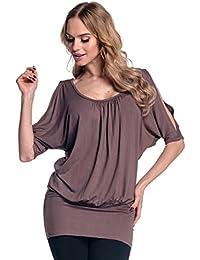 Glamour Empire Femme T-shirt top tunique à manches chauves-souris fendues. 221