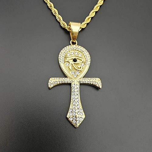 Ägyptische Ankh Kreuz Anhänger Männer Hip Hop Rock Glänzend Strass Bling Eis Aus Auge Von Horus Halsketten Gold Edelstahl (Ägyptischen Kostüm Junge)