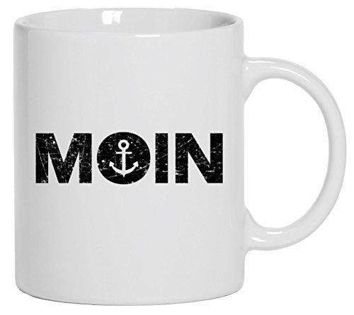Geschenkidee Küsten Hamburg plattdeutsch norddeutsch Kaffeetasse Tasse mit Motiv Becher Moin Anker, Größe: onesize,Weiß